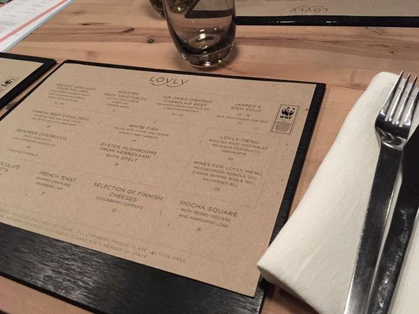Löyly restaurant menucard