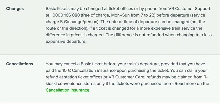 フィンランド 列車 キャンセル 変更