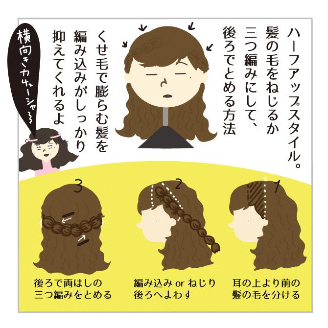 くせ毛のヘアアレンジ
